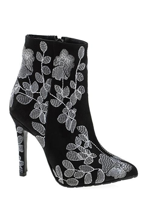 D by Divarese İnce Topuklu Çiçekli Bot Siyah